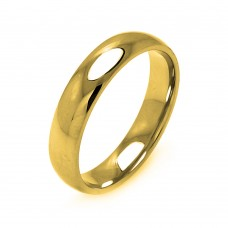 Wholesale Men's Stainless Steel Gold Color Band Ring 5mm - SRB003G