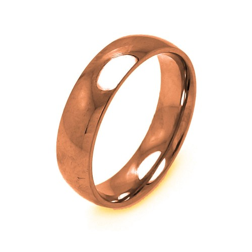 Wholesale Men's Stainless Steel Rose Gold Color Band Ring 6mm - SRB004R