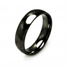Wholesale Men's Stainless Steel Black Color Band Ring 6mm - SRB004B