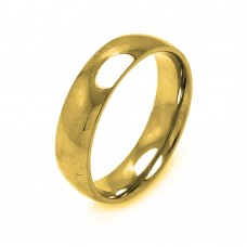 Wholesale Men's Stainless Steel Gold Color Band Ring 6mm - SRB004G