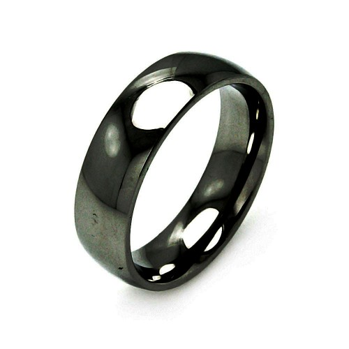 Wholesale Men's Stainless Steel Black Color Band Ring 7mm - SRB005B