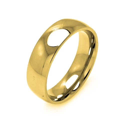 Wholesale Men's Stainless Steel Gold Color Ring 7mm - SRB005G