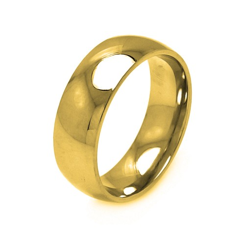 Wholesale Men's Stainless Steel Gold Color Ring 8mm - SRB006G