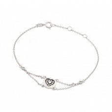 Wholesale Sterling Silver 925 Rhodium Plated CZ Black Heart Bracelet - BGB00210