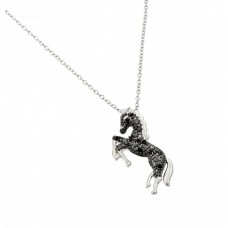 Sterling Silver Rhodium Plated Horse Pendant with CZ - BGP00959