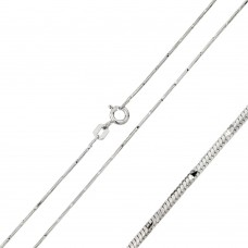 Wholesale Sterling Silver 925 Rhodium Plated 8 Sided Snake 020 DC Chain 0.8mm - CH135 RH