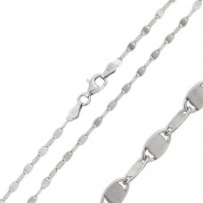 Wholesale Sterling Silver 925 Rhodium Plated Alternating Lock Oval Confetti 030 Chain 2.5mm - CH123 RH