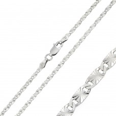 Wholesale Sterling Silver 925 Rhodium Plated DC Oval Flat Confetti 050 Chain 2.4mm - CH124 RH
