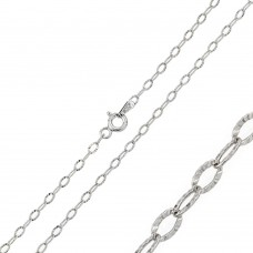 Wholesale Sterling Silver 925 Rhodium Plated Wide Oval Diamond Cut Link 040 Chain 2.4mm - CH120 RH