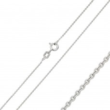 Wholesale Sterling Silver 925 Rhodium Plated Small Oval DC Link 020 Chain 1mm - CH229 RH