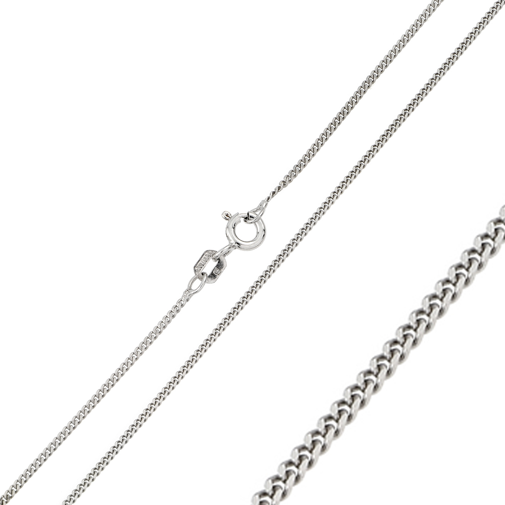 Wholesale Sterling Silver 925 Rhodium Plated Super Flat Curb 035 Chain 1.2mm - CH300 RH