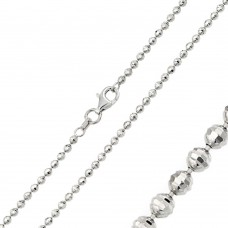 Wholesale Sterling Silver 925 Sterling Silver Rhodium Plated Horizontal Diamond Cut Bead 025 Chain 2.5mm - CH106 RH