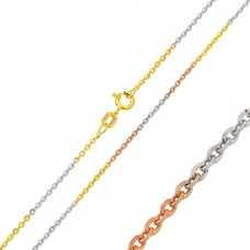 Wholesale Sterling Silver 925 Tri-Color Plated Diamond Cut Edge Rolo 040 Chains 1.3mm - CH264 MUL