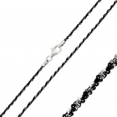 Wholesale Sterling Silver 925 Black Rhodium Plated Rock B/W DC 025 Chain 1.8mm - CH251 BLK