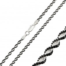 Wholesale Sterling Silver 925 Black Rhodium Plated Magic Twisted 2 Toned Chain - CH252 BLK