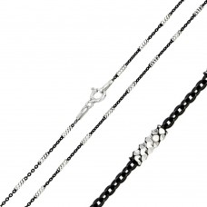Wholesale Sterling Silver 925 Black Rhodium Plated Tube Brite B/W DC 030 Chain - CH245 BLK