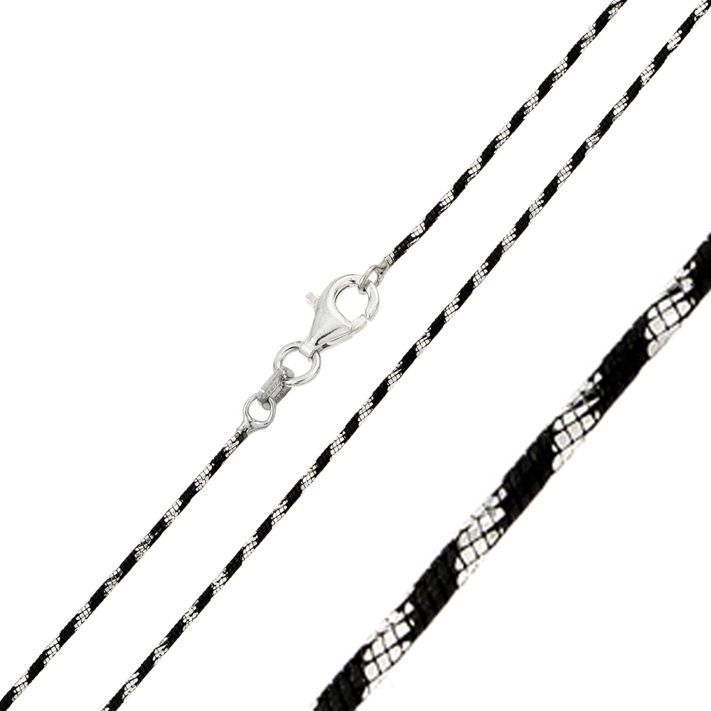 Wholesale Sterling Silver 925 Black Rhodium Plated 8 Sided Snake B/W DC 020 Chain - CH247 BLK