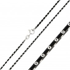 Wholesale Sterling Silver 925 Black Rhodium Plated 4 Sided Snake Chain with White Dots - CH247A BLK