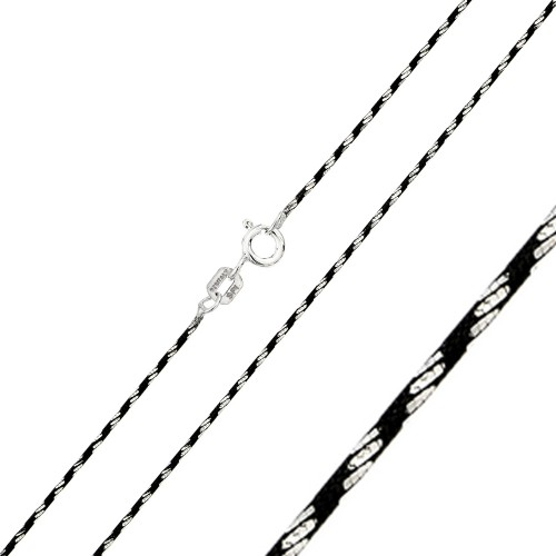 Wholesale Sterling Silver 925 Black Rhodium Plated Round Snake B/W DC 020 Chain - CH246 BLK