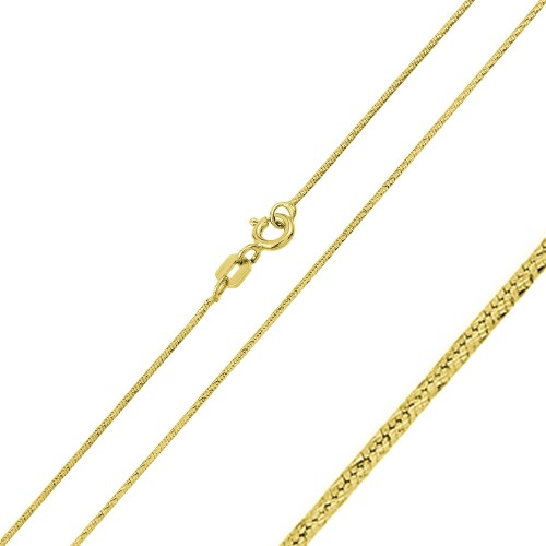 Wholesale Sterling Silver 925 Gold Plated Round Snake Slash DC Chain 0.8mm - CH357 GP