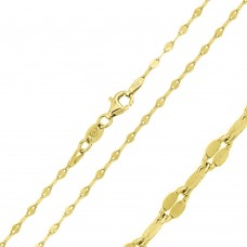 Wholesale Sterling Silver 925 Gold Plated Flat Moka Chain 2mm - CH356 GP