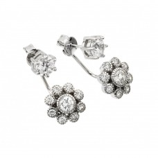 Wholesale Sterling Silver 925 Rhodium Plated Dangling CZ Cluster Earrings - BGE00437