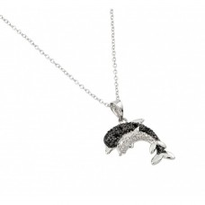 Wholesale Sterling Silver 925 Rhodium Plated Black and Clear Dolphin Necklace - BGP00680