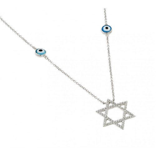 Wholesale Sterling Silver 925 Rhodium Plated Round Evil Eye and Star of David Necklace - BGP00979