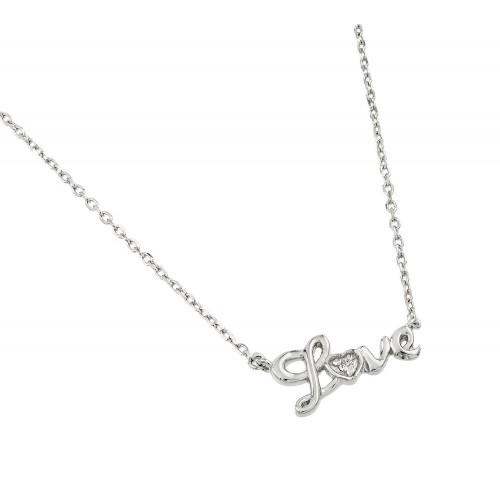 Wholesale Sterling Silver 925 Rhodium Plated Love CZ Necklace - BGP01001