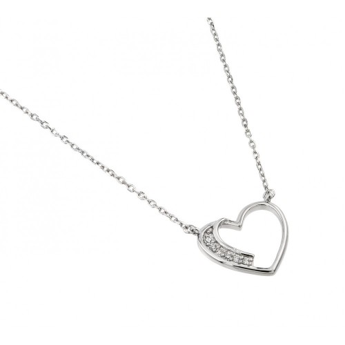 Wholesale Sterling Silver 925 Rhodium Plated CZ Heart Necklace - BGP01003
