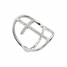 Wholesale Sterling Silver 925 Rhodium Plated Cross Ring - BGR00924