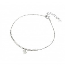 Wholesale Sterling Silver 925 Rhodium Plated CZ Heart Bracelet - GMB00011RH