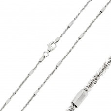Wholesale Sterling Silver 925 Rhodium Plated Tubes On Rock 030 Chain 2mm - CH243 RH