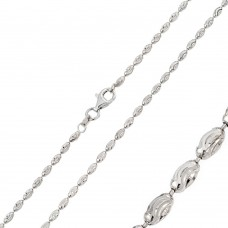 Wholesale Sterling Silver 925 Rhodium Plated Oval Curved DC Bead 002 Chains - CH111 RH