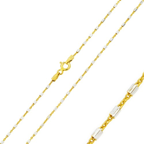 Wholesale Sterling Silver 925 Gold Plated 2 Toned DC Tube Link Chain 1.3mm - CH354 GP