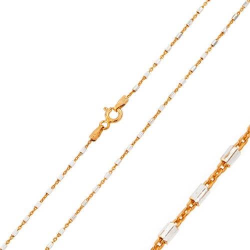 Wholesale Sterling Silver 925 Rose Gold Plated 2 Toned DC Tube Link 030 Chain 1.3mm  - CH148 RGP