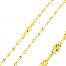 Wholesale Sterling Silver 925 Gold Plated Star DC Moka Chain 2.7mm - CH353 GP