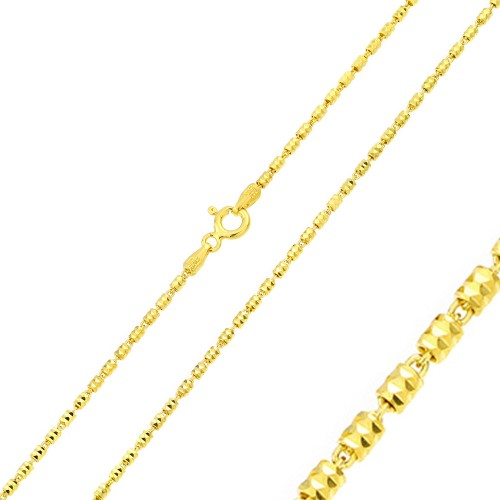 Wholesale Sterling Silver 925 Gold Plated Tube Brite Chain 1.4mm - CH350 GP