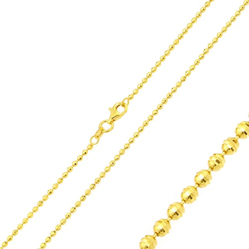 Wholesale Sterling Silver 925 Gold Plated Horizontal Diamond Cut Bead Chain 1.8mm - CH325 GP