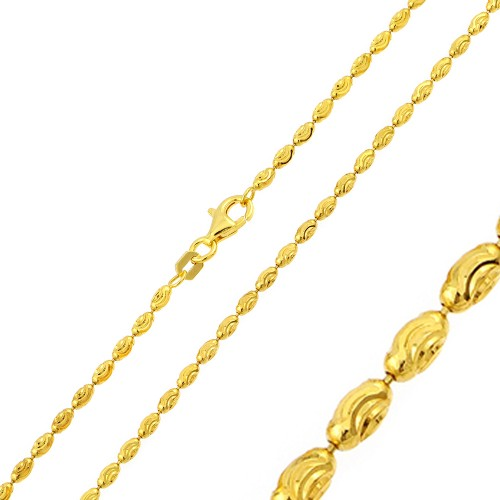 Wholesale Sterling Silver 925 Gold Plated Oval Curved DC Bead Chains - CH324 GP