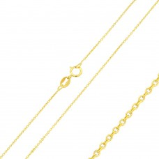 Wholesale Sterling Silver 925 Gold Plated Diamond Cut Anchor Chain 0.9mm - CH364 GP