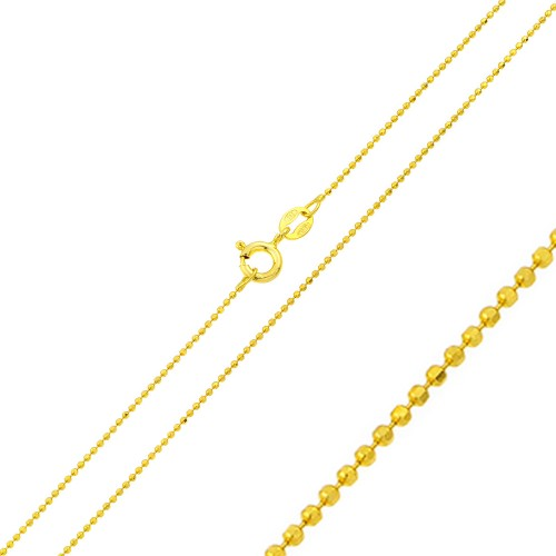 Wholesale Sterling Silver 925 Gold Plated Diamond Cut Bead Chain 1.2mm - CH331 GP