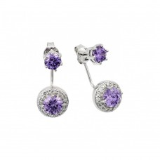 Wholesale Sterling Silver 925 Rhodium Plated Purple CZ Cluster Earrings - BGE00438