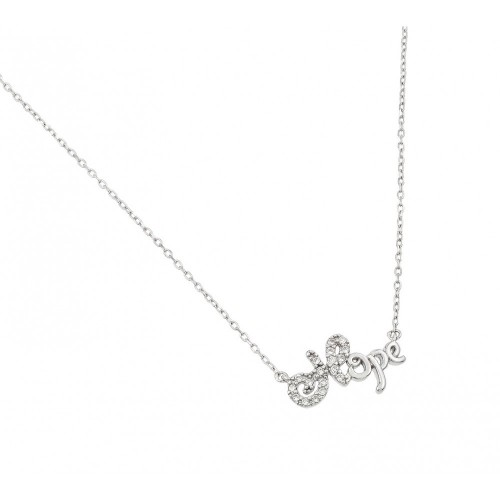 Wholesale Sterling Silver 925 Rhodium Plated CZ Hope Necklace - BGP01002