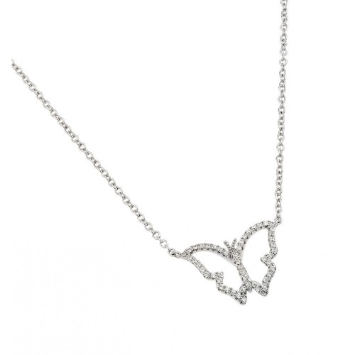 Wholesale Sterling Silver 925 Rhodium Plated Open CZ Butterfly Necklace - BGP01004