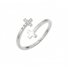 Wholesale Sterling Silver 925 Rhodium Plated CZ Double Cross Ring - BGR00926