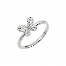 Wholesale Sterling Silver 925 Rhodium Plated CZ Butterfly Ring - BGR00932