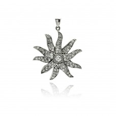 -Closeout- Wholesale Sterling Silver 925 Rhodium Plated Flower CZ Wire Dangling Pendant - ACP00005