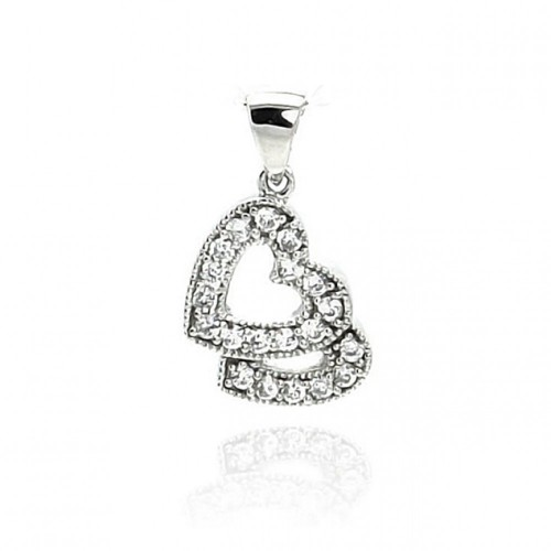 Wholesale Sterling Silver 925 Rhodium Plated Open Two Heart CZ Dangling Pendant - ACP00009
