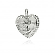Sterling Silver Rhodium Plated Heart Key CZ Dangling Pendant acp00024